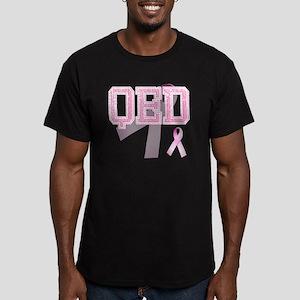 QED initials, Pink Rib Men's Fitted T-Shirt (dark)