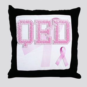 QED initials, Pink Ribbon, Throw Pillow