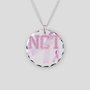 NCT initials, Pink Ribbon, Necklace Circle Charm