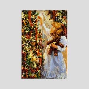 Vintage Christmas Scene Rectangle Magnet
