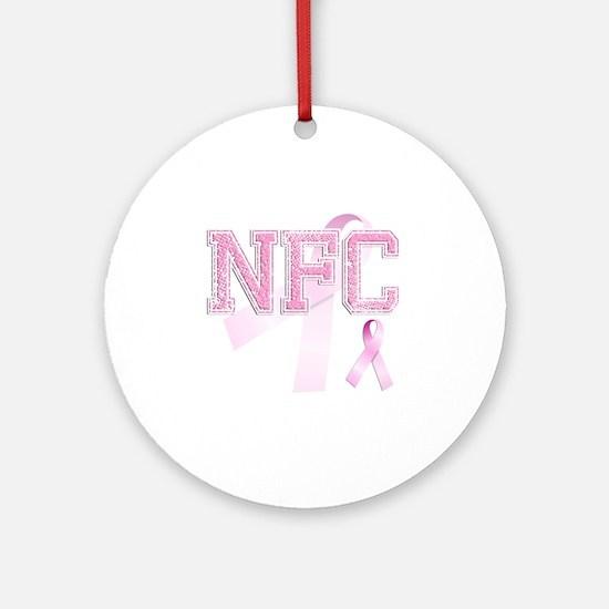 NFC initials, Pink Ribbon, Round Ornament