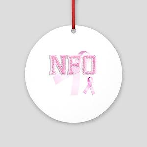 NFO initials, Pink Ribbon, Round Ornament