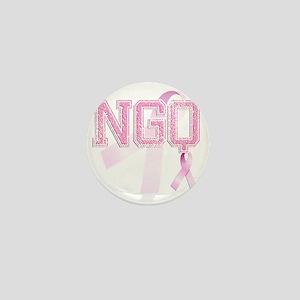 NGQ initials, Pink Ribbon, Mini Button