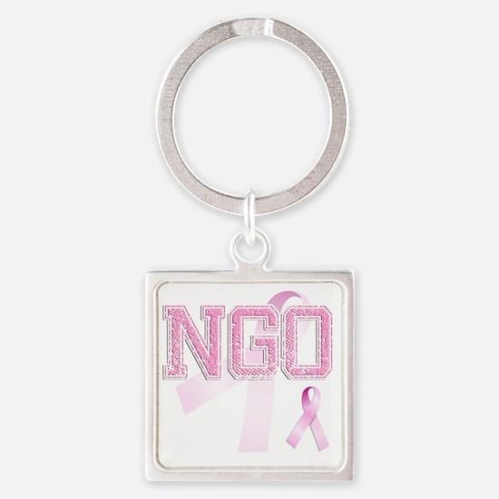 NGO initials, Pink Ribbon, Square Keychain