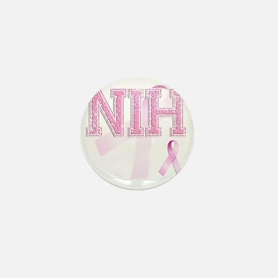 NIH initials, Pink Ribbon, Mini Button