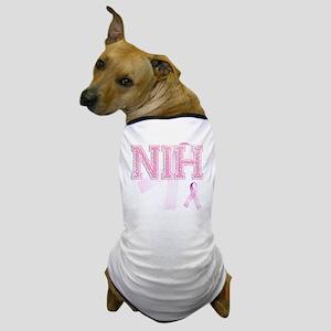 NIH initials, Pink Ribbon, Dog T-Shirt