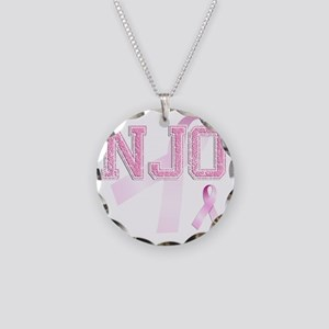 NJO initials, Pink Ribbon, Necklace Circle Charm