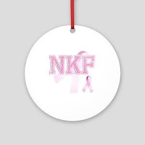 NKF initials, Pink Ribbon, Round Ornament