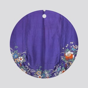 Regal Purple Antique Kimono Shower  Round Ornament