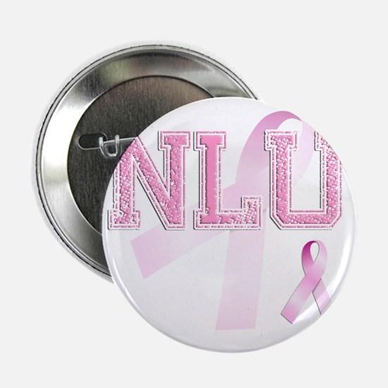 "NLU initials, Pink Ribbon, 2.25"" Button"
