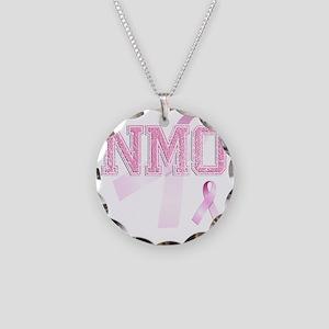 NMO initials, Pink Ribbon, Necklace Circle Charm