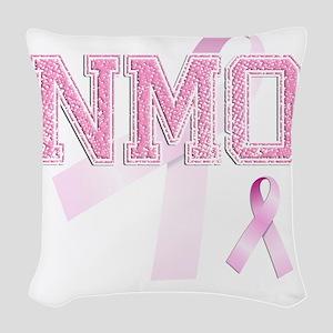 NMO initials, Pink Ribbon, Woven Throw Pillow