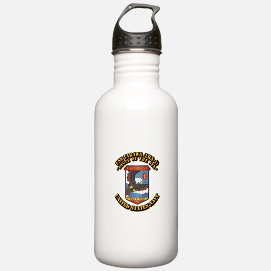 USS Tarawa (LHA-1) with Text Water Bottle