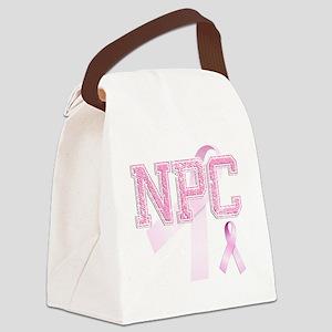 NPC initials, Pink Ribbon, Canvas Lunch Bag