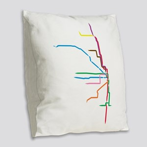 Painted Chicago El Map Burlap Throw Pillow