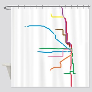 Painted Chicago El Map Shower Curtain