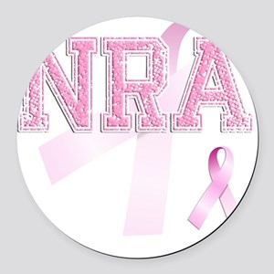 NRA initials, Pink Ribbon, Round Car Magnet