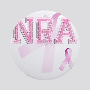 NRA initials, Pink Ribbon, Round Ornament