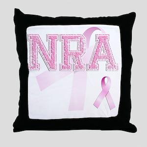 NRA initials, Pink Ribbon, Throw Pillow