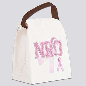 NRO initials, Pink Ribbon, Canvas Lunch Bag