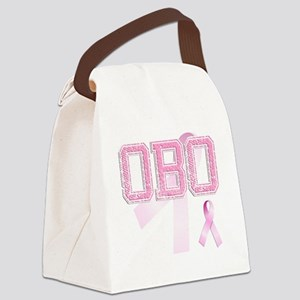OBO initials, Pink Ribbon, Canvas Lunch Bag