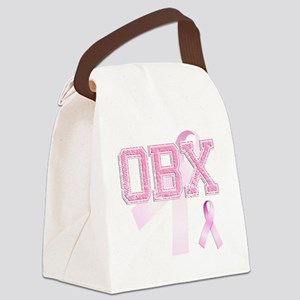 OBX initials, Pink Ribbon, Canvas Lunch Bag