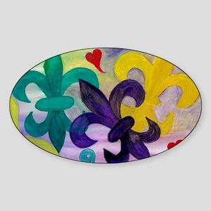 Mardi Gras Fleur de lis Sticker (Oval)