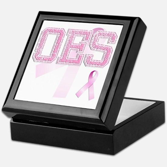 OES initials, Pink Ribbon, Keepsake Box