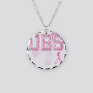 OES initials, Pink Ribbon, Necklace Circle Charm