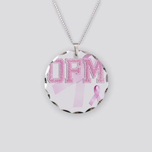 OFM initials, Pink Ribbon, Necklace Circle Charm