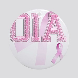 OIA initials, Pink Ribbon, Round Ornament