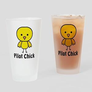 Pilot Chick Drinking Glass