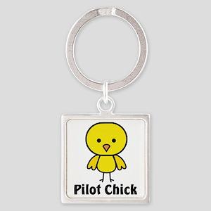Pilot Chick Square Keychain