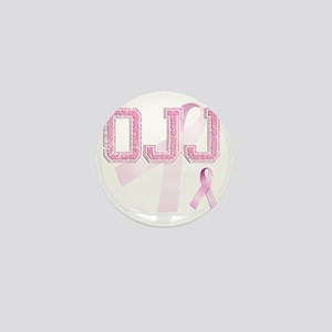 OJJ initials, Pink Ribbon, Mini Button