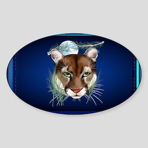 Wall Peels Midnight Mountain Lion Sticker (Oval)