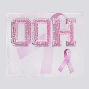 OOH initials, Pink Ribbon, Throw Blanket