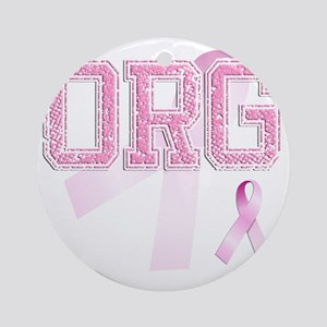 ORG initials, Pink Ribbon, Round Ornament