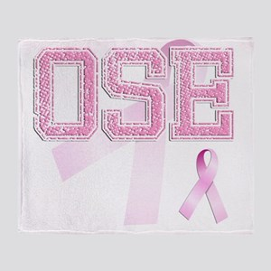 OSE initials, Pink Ribbon, Throw Blanket