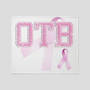 OTB initials, Pink Ribbon, Throw Blanket