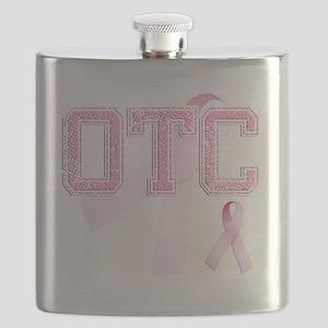 OTC initials, Pink Ribbon, Flask