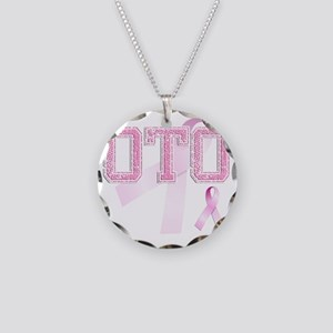 OTO initials, Pink Ribbon, Necklace Circle Charm
