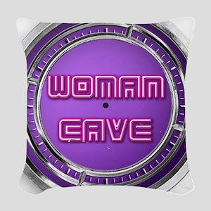 woman cave Woven Throw Pillow
