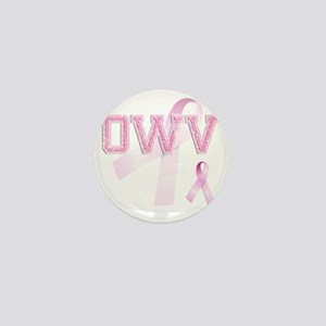 OWV initials, Pink Ribbon, Mini Button