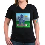 T-Rex Shot Put Women's V-Neck Dark T-Shirt