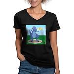 T-Rex Shot Put Women's V-Neck Dark T-Shirt