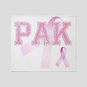 PAK initials, Pink Ribbon, Throw Blanket
