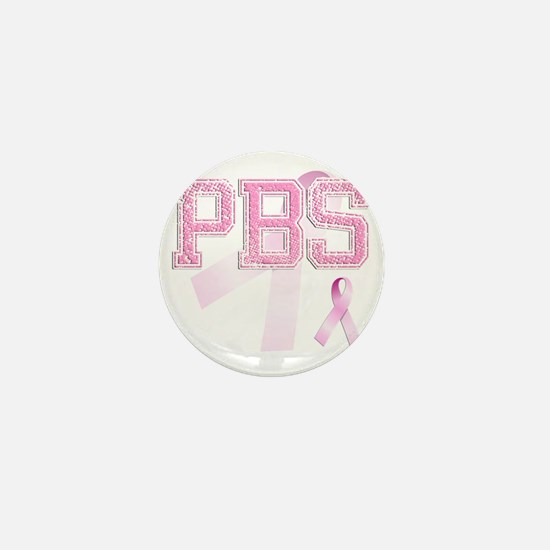 PBS initials, Pink Ribbon, Mini Button