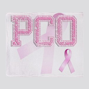 PCO initials, Pink Ribbon, Throw Blanket