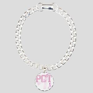 PCT initials, Pink Ribbo Charm Bracelet, One Charm