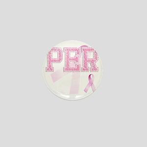 PER initials, Pink Ribbon, Mini Button